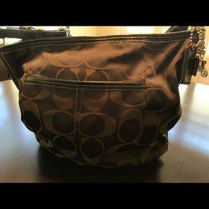 Black Satin Coach Shoulder Bag